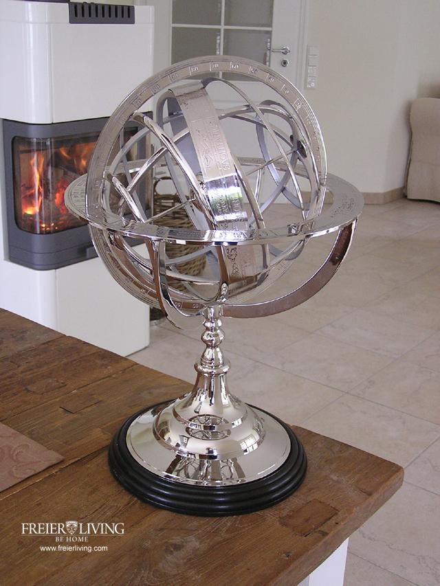 Weihnachtsdeko Globus.Figurenhalle Große Globus Sonnenuhr Aus Chrom